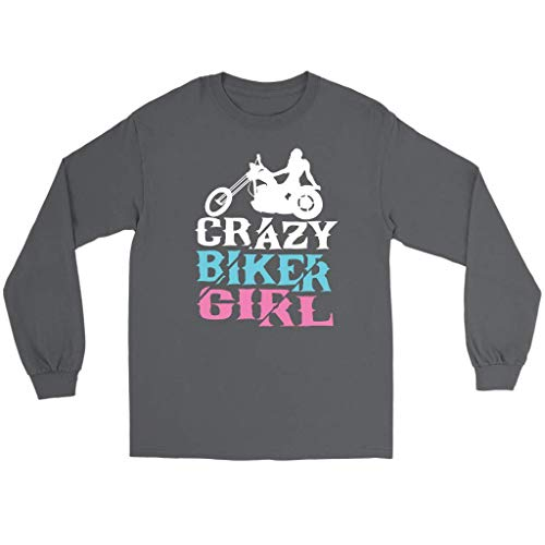 Crazy Biker Girl Cute Unique Funny Harley Motorcycle Rider Gift Long Sleeve -