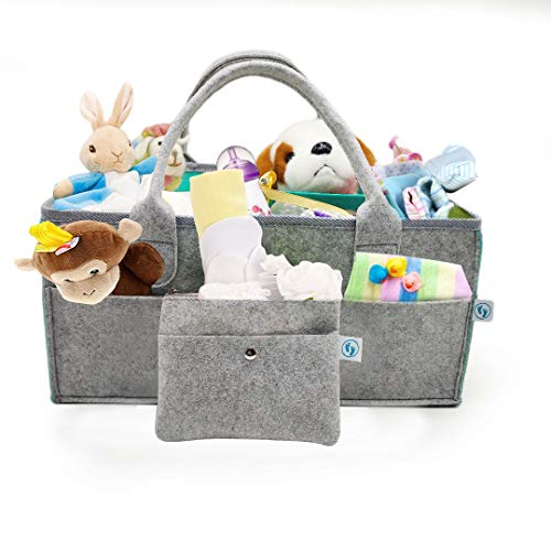 XL Portable Baby Diaper Caddy Organizer by Dearest Little One - Compact Basket for The Nursery Crib Dresser and Car - Premium Light Grey Felt Material in Teal Mint for Boy Girl Newborn - Shower Gift