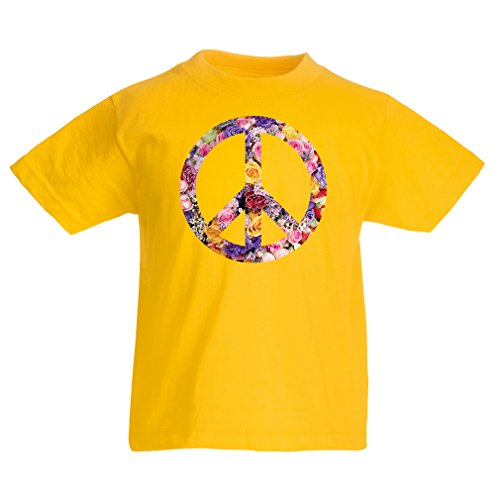 (lepni.me Kids Boys/Girls T-Shirt Peace Symbol, 1960s 1970s Hippy Hippie Festival, Peace Sign Flower Summer Hipster Swag (5-6 Years Yellow Multi Color))