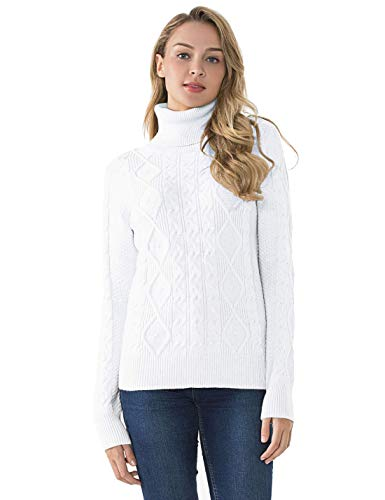 PrettyGuide Women's Turtleneck Sweater Long Sleeve Cable Knit Sweater Pullover Tops S Off White