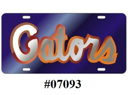 Florida Gators Blue & Silver #07093 Laser Cut Inlaid Mirror License Tag (License Mirror Blue Plate)