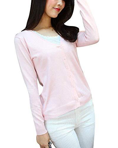 Manica V Pink Button Neck Donna Grazioso Moda Elegante Outerwear Monocromo Outwear Moda Maglie Primaverile Lunga Autunno Di Giovane Pullover UFH4zq0