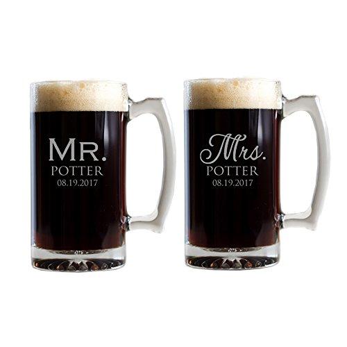 Personalized Mr. & Mrs. Beer Mugs - Engraved Bride and Groom Beer Mugs