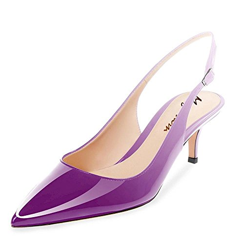 (Maguidern Kitten Heel Sandals, Patent Leather Pointed Toe Slingback Low Heel Metal Buckle Pumps Shoes Purple Size 7)