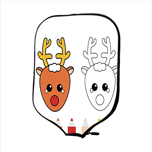 Neoprene Pickleball Paddle Racket Cover Case/Coloring Page with Christmas Deer Drawing Kids Game Printable Activity/Fit for Most Rackets - Protect Your Paddle