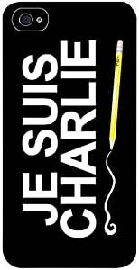 JE SUIS CHARLIE-TYPOGRAPHY Case for the Apple Iphone 4, 4s-Hard WHITE Plastic Outer Case