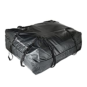 15 Cubic Feet Waterproof Car Rooftop Cargo Carrier Storage Bag, Fit Any Car/Van/SUVs with Roof Rails, Easy to Install with Durable Wide Straps