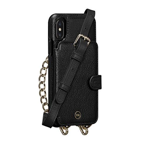 Kyla Crossbody Snap On Cell Phone Case for iPhone Xs Max - Wireless Charging Compatible - Black
