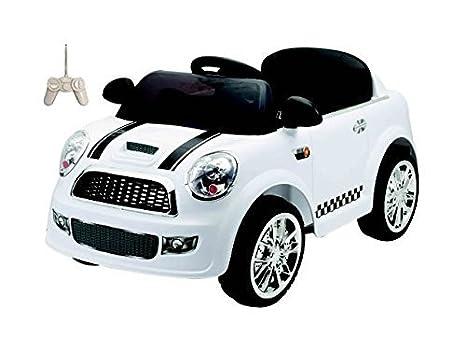 Auto Elettrica Per Bambini Mini Car Bianca Con Telecomando 2 Motori