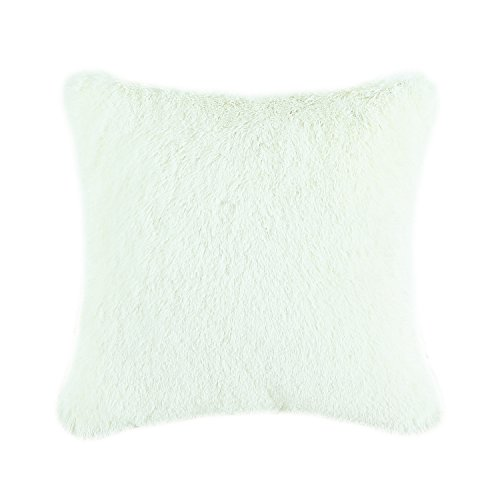 CaliTime Super Soft Throw Pillow Cover Case for Couch Sofa Bed Solid Plush Faux Fur 18 X 18 Inches Ivory