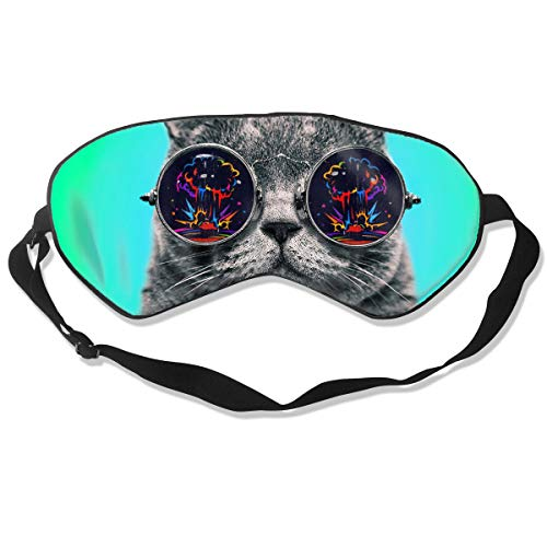 Homlife Sleep Mask 100% Silk Eye Mask Big Glasses Cat Art Eye Cover Sleeping Mask for Travelling, Night Noon Nap, Mediation Or Yoga