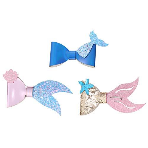 (3pcs Mermaid Bow Hairpin Set Glitter Sparkly Ocean Sea Star Seashell Barrettes Hair Accessories for Girls Kids Toddler (B))