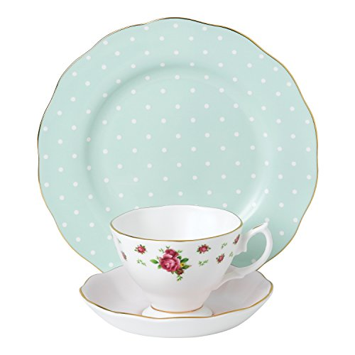 Royal Albert 40034974 Modern Vintage Collection Teacup, Saucer, Plate, White, Pink