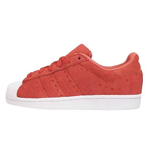 Adidas Women's Superstar W, TOMATO/WHITE/RED, 5.5 US