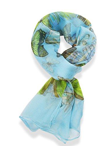 terfly Pattern Scarf (Light Blue) (100% Silk Dress)