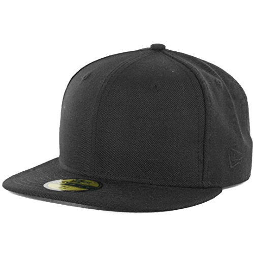 New Era Plain Tonal 59Fifty Fitted Hat (Black) Men's Blank Cap ()