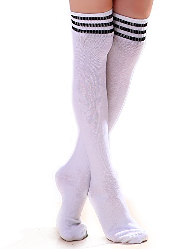 (HDE Women Three Stripe Over Knee High Socks Extra Long Athletic Sport Tube Socks (White/Black))