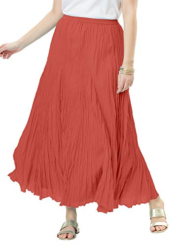 Jessica London Women's Plus Size Cotton Crinkled Maxi Skirt - Burnt Red, 18