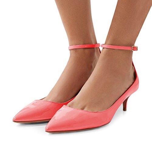 Fsj Donna Versatile Scarpe A Punta Pompe Mid Kitten Tacchi Slim Cinturino Alla Caviglia Mary Jane Scarpe Taglia 4-15 Us Corallo