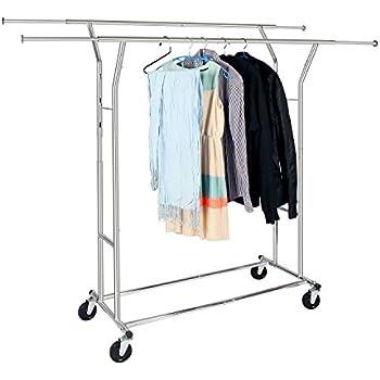 Amazon Com Deluxe Adjustable Double Hang Bar Garment Rack
