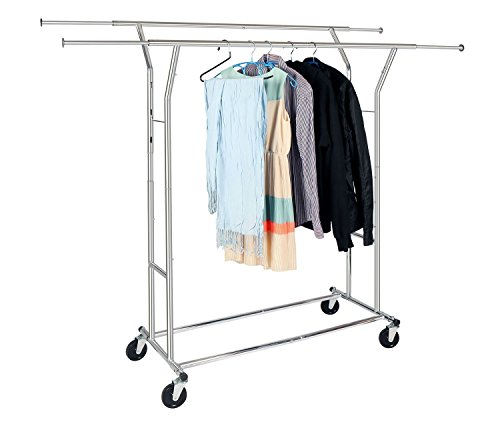 HLC Collapsible Commercial Grade Clothing Garment Rack Double Rods