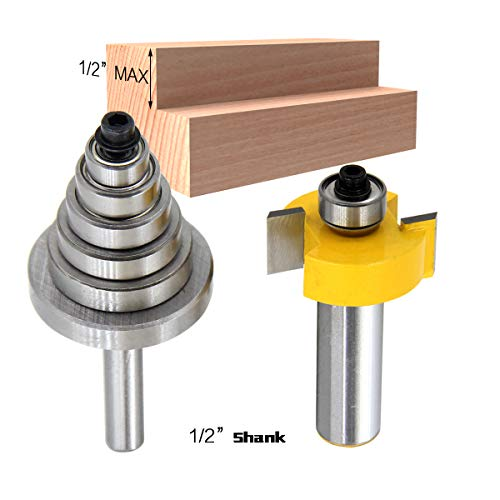 1/2 Inch Shank Rabbet Router Bit with 6 Bearings Set | 1/8