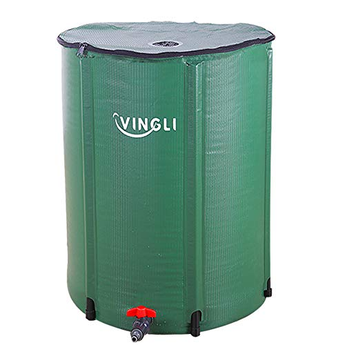 VINGLI 66 Gallon Collapsible Rain Barrel, Portable Water Storage Tank, Rainwater Collection System Downspout, Water Catcher Container with Filter Spigot Overflow Kit (Barrel Plastic Water Faucet)
