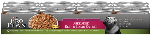 Purina Pro Plan Adult Dog Food, Shredded Beef and Lamb, 5.5-Ounce Cans (Pack of 24), My Pet Supplies
