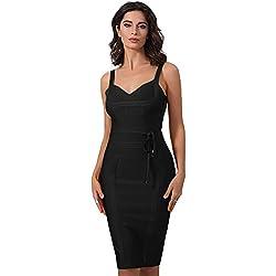 Whoinshop Women's Tie Waist Contrast Bodycon Short Pencil Bandage Dress (XL, Black)