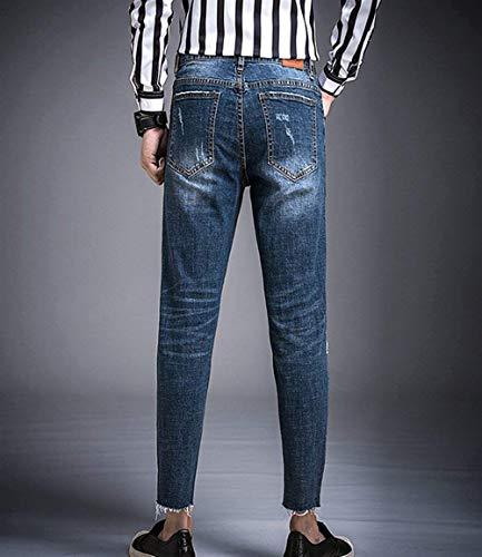 Holes Abbigliamento Skinny Alsbild Uomo Distrutti Fit Pantaloni Jeans Ripped Slim Denim Stretch O1WqY
