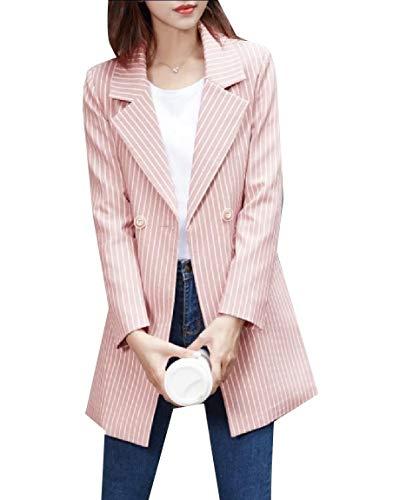 Abetteric Women Oversized Notch Collar Blazer Lounge Pinstripe Jacket Suits Pink 2XL