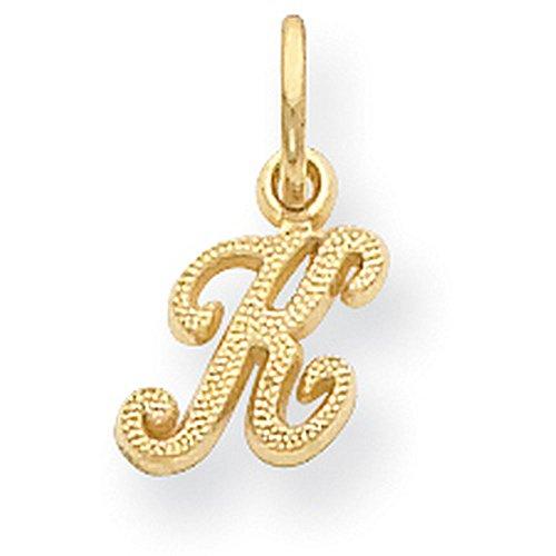 ond-cut Cursive Script Initial Pendant with Satin Finish - Letter K - Yellow Gold (Gold Diamond Cut Name Pendant)