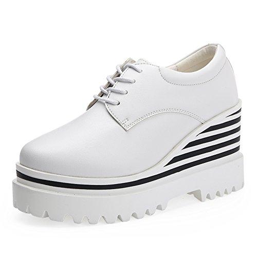 Zapatos de plataforma mujer/zapatos de plataforma en el otoño/Zapatos de aumento de altura/Zapatos de cuñas/Plataforma redonda de zapatos de mujer de UK A