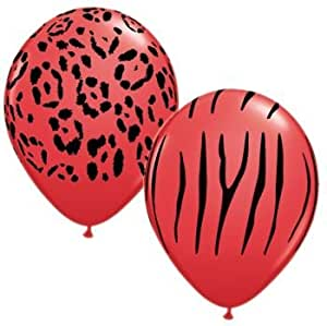 Qualatex Red Safari Animal Print Latex Balloons, 11-Inch 25 Per Pack Assortment
