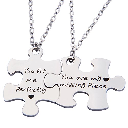 SEIRAA Couples Puzzle Keychain You Are My Missing Piece You Fit Me Perfectly Set Of Two (necklace suit) by SEIRAA