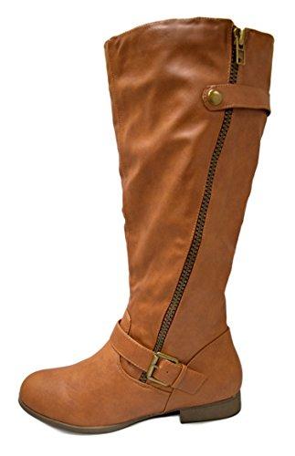 Charles Albert Womens Side Zipper Accent Knee Stivali Da Equitazione Cognac