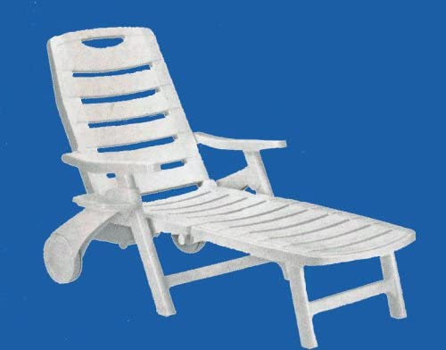 Premiere Rolling, Folding, Five Position Reclining Patio Sun Lounger Chair or Deck Chair – White – with Arm Rests