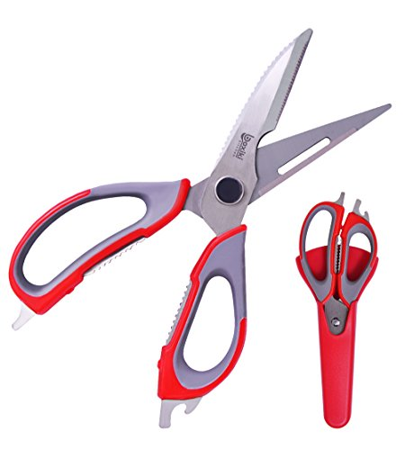 Stainless Steel Kitchen Scissors For Meats, Herbs, Vegetables & Pastries   Multifunctional Scissors with Protective Case, Nut Cracker & Bottle Opener   Gray & Red Kitchen Scissors by Boxiki Kitchen -