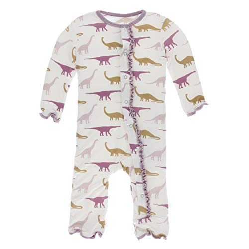 Kickee Pants Little Girls Print Muffin Ruffle Coverall with Snaps - Natural Sauropods, 9-12 Months