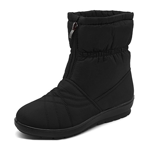 YouLym Women's Waterproof Warm Winter Snow Boots Wide Calf Anti-Slip Fur Lining Cold Weather Boots, 41