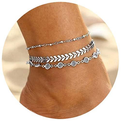 - Phima Boho Silver Chain Anklet Bracelets for Women Rhinestones Anklet Bracelets for Girls Foot Jewelry