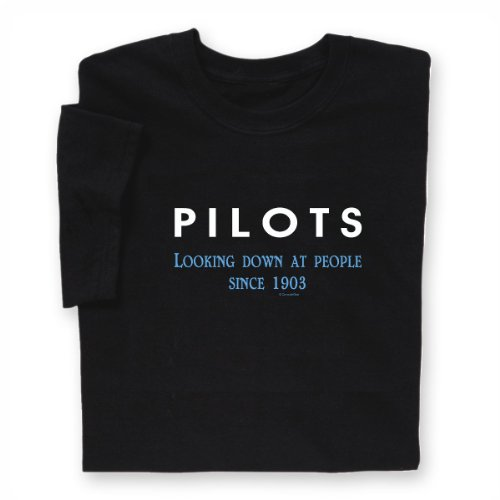 ComputerGear Funny Pilot T Shirt Airplane Flying Pilots Looking Down, - Black Famous Aviators