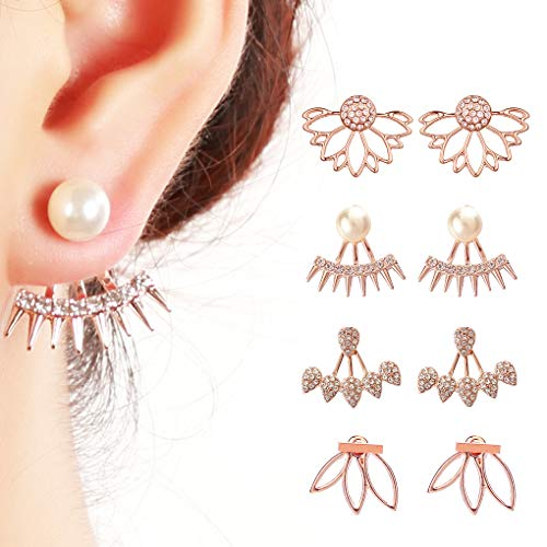 Juland 4 Pairs Hollow Lotus Flower Earrings Back Cuffs Jacket Earrings Crystal Simple Chic Stud Earrings Set for Women Girls - Rose Gold (Gold Crystal Earrings Studs)