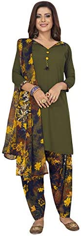 Jevi Prints Women's Faux Crepe Green & Multicolor Floral Print Wrinkle Free Dress Material (Varsha-2871_Green & Multicolor_Free Size)