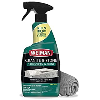 Weiman Disinfectant Granite Cleaner and Polish - 24 Ounce and Microfiber Cloth - Safely Clean Disinfect and Shine Granite Marble Soapstone Quartz Quartzite Slate Limestone Corian Laminate Tile Countertop