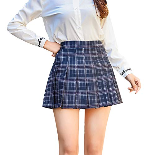 Tulucky Women Plaid Skirt High Waist Pleated School Girl Uniform Mini Skirts(BluePlaid,S) -