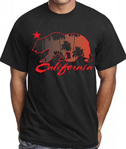 - CaliDesign Men's California Palm Trees T Shirt 420 Kush Bear Black Red, Extra Large - XL