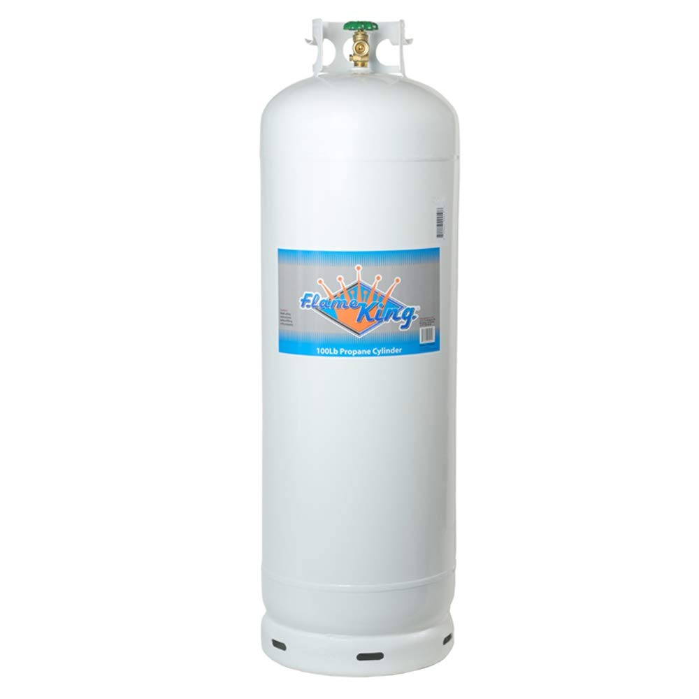 Flame King YSN100a 100 Lb Steel Propane Cylinder with POL Valve, White