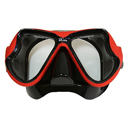 FX Divers Sea Pro Dive Mask, Red/Black
