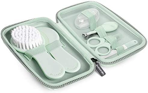 Suavinex 401211 - Neceser Set Manicura para Bebés +0M con Cepillo, Peine, Cepillo Dental, Tijeritas, Lima, Cortaúñas, Color Verde: Amazon.es: Bebé